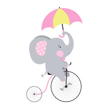 Cute Elephant By Bicycle With Umbrella. Vector Illustration