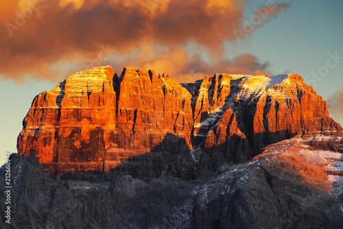Keuken foto achterwand Grijze traf. Brenta Dolomites in sunset light, Italy, Europe