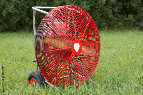 big red ventilato for filling the hot air balloon
