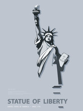 Statue Of Liberty USA, Poster. Creative Black-and-white Linear Drawing. National Symbol Of America.Illustration, Gray Background. Use Presentations,corporate Reports,text, Emblems,labels, Logo, Vector
