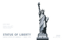 Statue Of Liberty. USA, Poster. 2020. Creative Black And White Linear Picture. Symbol Of America. Illustration White Background. Use Presentations,corporate Reports, Text, Emblems,labels,logo, Vector