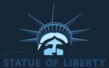 Portrait. Statue Of Liberty USA, Poster. 2018. Blue Linear Image. New York. National Symbol Of America. Illustration, Dark Background. Use Presentations,corporate Reports, Emblems,labels, Logo,vector