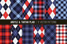 Indigo, Blue And Red Argyle An...
