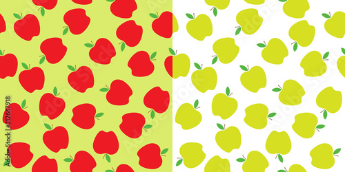 Leinwand Poster Red and Green Apples Seamless Vector Pattern Tiles