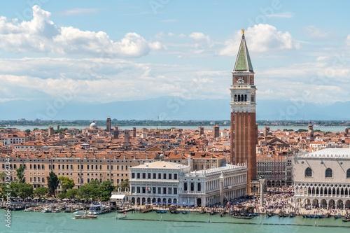 Foto op Plexiglas Venetie Aerial view on Venice city in Italy. Tower of San Marco.