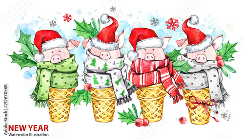 2019 happy new year illustration christmas border cute pigs with santa hat in waffle