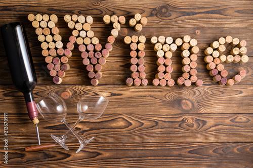 Fotografie, Obraz  Wine lettering made of corks with bottle