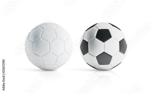 BLank white and white with black polygons soccer ball mockup, 3d rendering Wallpaper Mural