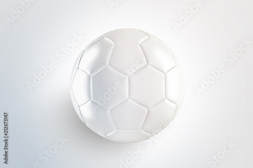 Blank white glossy leather soccer ball mock up, top view, isolated on surface, 3d rendering Canvas Print
