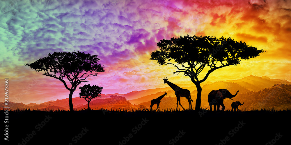 Fototapeta illustration of a bright sunset in africa, safari with wild animals: giraffes and elephants against the background of sunset in the savannah