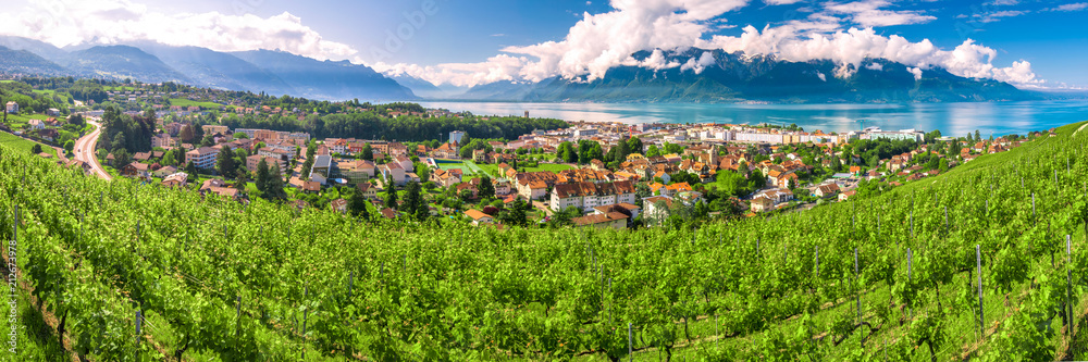 Panorama view of Montreux city with Swiss Alps, lake Geneva and vineyard on Lavaux region, Canton Vaud, Switzerland, Europe