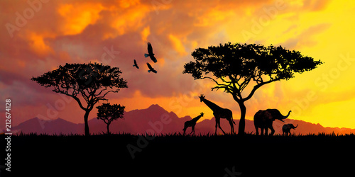 Obraz na plátně illustration of a bright sunset in africa, safari with wild animals: giraffes an