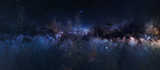 Fototapeta Na sufit - Panoramic astrophotography of visible Milky Way galaxy. Stars, nebula and stardust at night sky