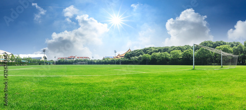Green football field under blue sky background Fototapeta