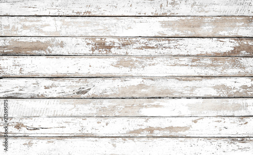 Photographie Vintage white wood background - Old weathered wooden plank painted in white color