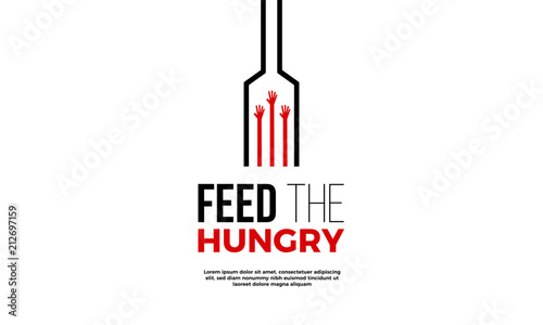 Slika na platnu Feed the Hungry. Hunger Prevention Ad Poster Template.