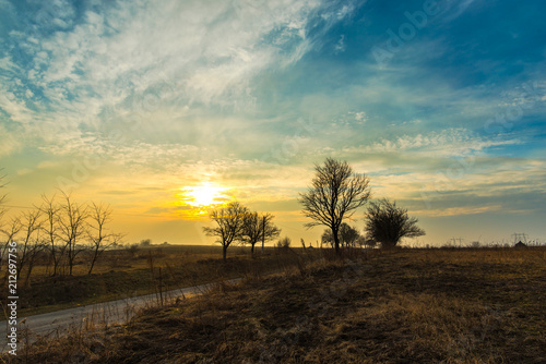 Staande foto Bleke violet Sunset in the beginning winter season