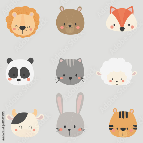 Set of cute animal heads. Lion, Bear, Fox, Panda, Cat, Sheep, Cow, Rabbit, Tiger.