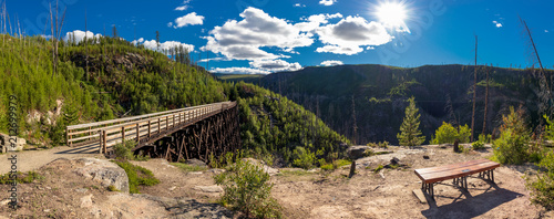 lookout at myra canyon provincial park over the mountains and trestles Canvas-taulu