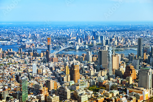 Spoed Foto op Canvas Verenigde Staten View of New York and Manhattan from a bird's eye view.