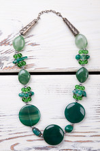 Beaded Necklace With Green Pol...