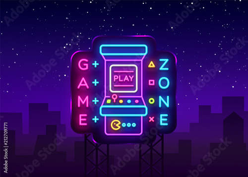 Fotografía  Game Zone Logo Vector Neon