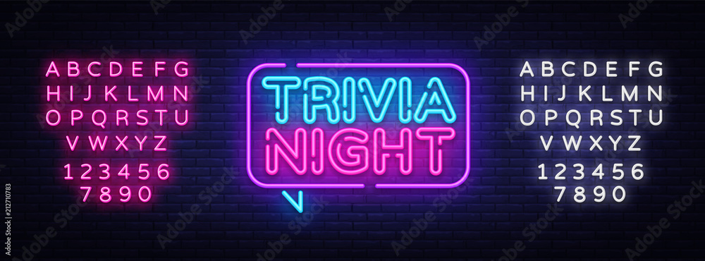 Fototapeta Trivia night announcement neon signboard vector. Light Banner, Design element, Night Neon Advensing. Vector illustration. Editing text neon sign