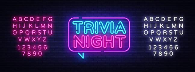 Trivia night announcement neon signboard vector. Light Banner, Design element, Night Neon Advensing. Vector illustration. Editing text neon sign