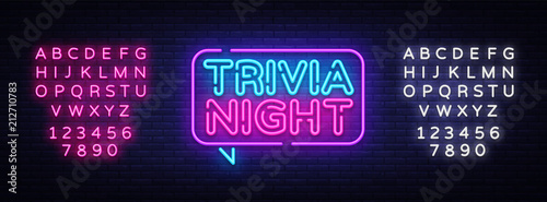 Obraz Trivia night announcement neon signboard vector. Light Banner, Design element, Night Neon Advensing. Vector illustration. Editing text neon sign - fototapety do salonu