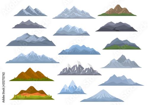 Fototapeta different  cartoon mountains set, isolated graphic vector illustration obraz