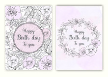 Floral Hand Drawn Frame For A Birth Day Invitation