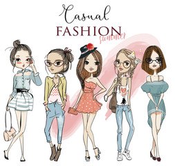 Fototapeta samoprzylepna set with cute cartoon girls