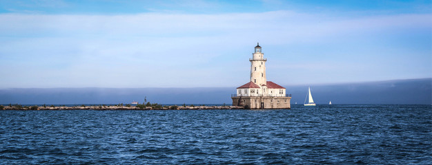 USA / Chicago Harbor Lighthouse on Michigan lake