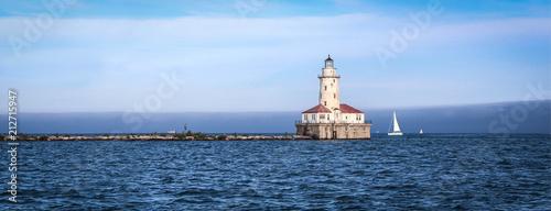 Montage in der Fensternische Leuchtturm USA / Chicago Harbor Lighthouse on Michigan lake