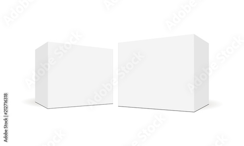 Fotografia White blank square boxes with side perspective view