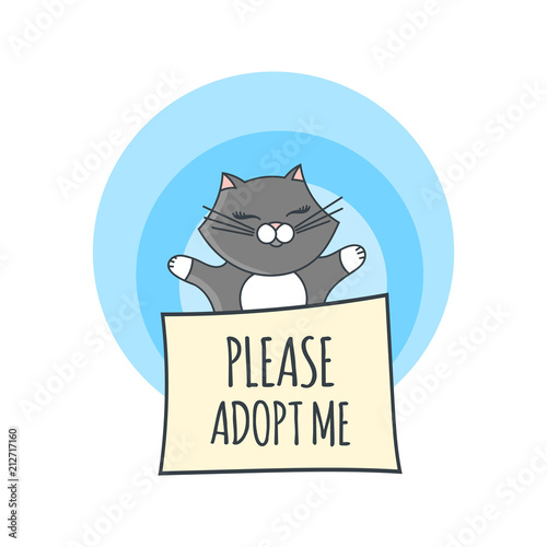 International Homeless Animals Day Illustration Vector Cute Grey Cat In Box With Text Banner Please Adopt Me Pets Adoption Design Template Buy This Stock Vector And Explore Similar Vectors At Adobe