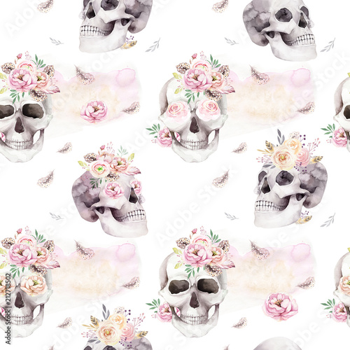 Poster Crâne aquarelle Vintage watercolor patterns with skull and roses, wildflowers, Hand drawn illustration in boho style. Floral skull wallpaper, Day of The Dead