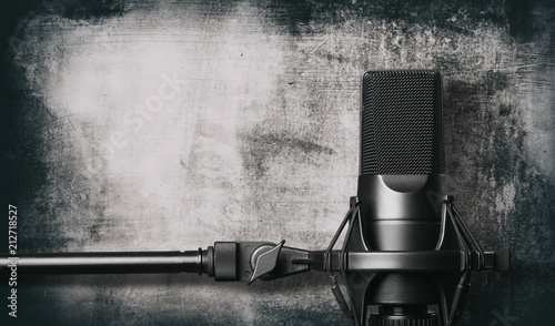 Black metal studio condenser microphone. - 212718527