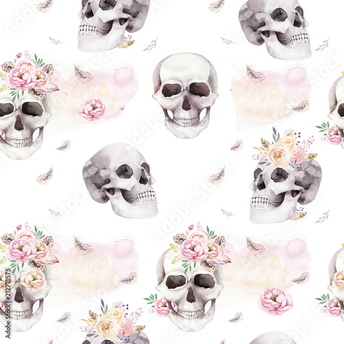 Photo sur Toile Crâne aquarelle Vintage watercolor patterns with skull and roses, wildflowers, Hand drawn illustration in boho style. Floral skull wallpaper, Day of The Dead