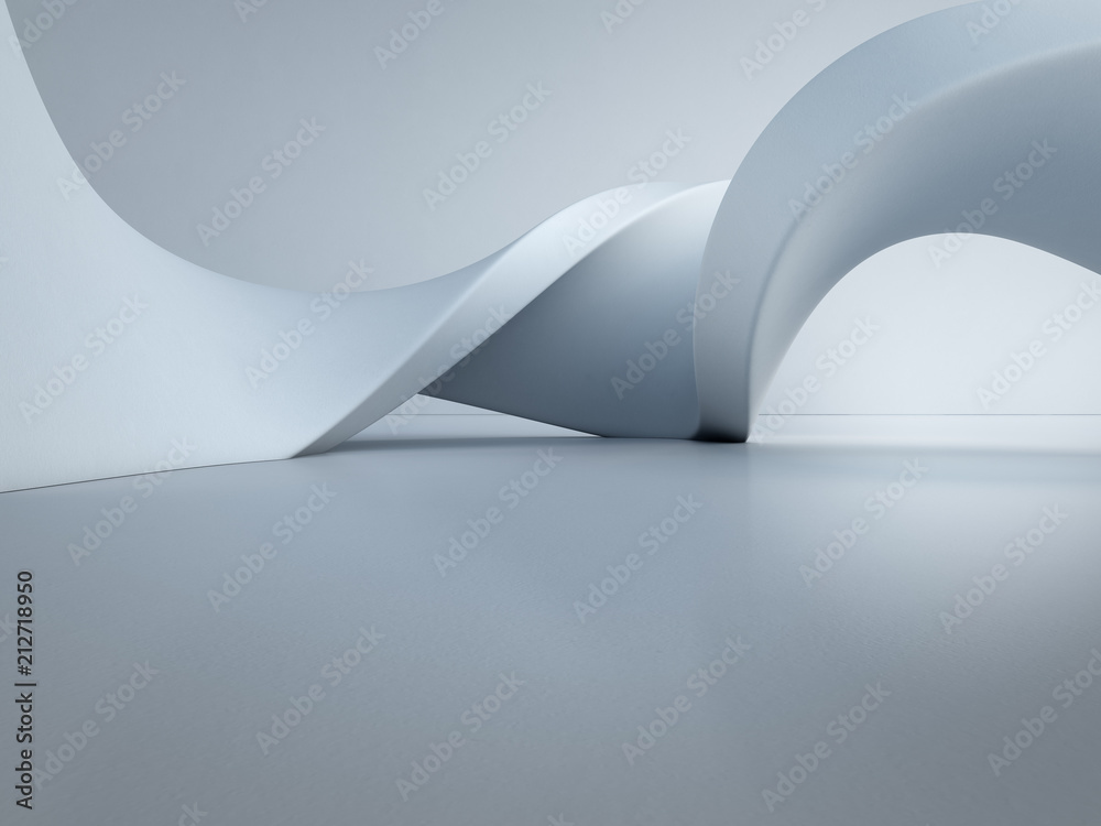Fototapeta Geometric shapes structure on empty concrete floor with white wall background in hall or modern showroom, Construction technology for future architecture - Abstract interior design 3d illustration