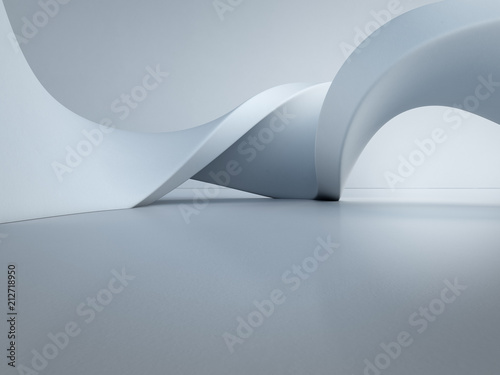 Fotografia Geometric shapes structure on empty concrete floor with white wall background in