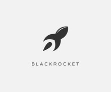 Black Rocket Logo Design Icon Vector