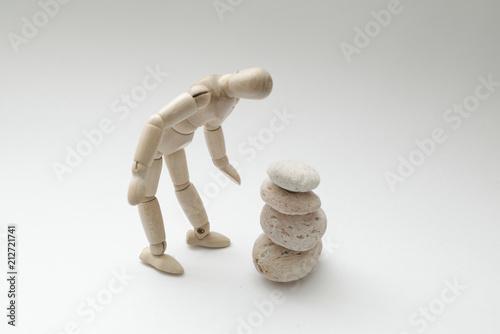 Fotografie, Obraz  石を見つめるポーズ