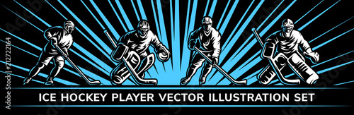 Fotografía  Ice hockey vector player illustration collections on a black background