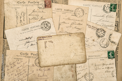 Vintage postcards Old handwritten letter used paper background