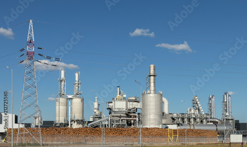 Staande foto Industrial geb. Wood processing industry.Modern industrial factory for furniture manufacturing.