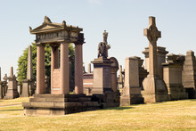 Monuments And Tombstones At The Glasgow Necropolis, A Victorian Cemetery In Glasgow, Scotland, UK