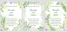 Set Of Templates For Wedding Invitation Cards With Floral Design, Vector Illustrations.