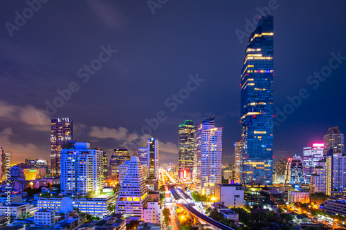 Poster Stad gebouw Cityscape of business center in downtown of Bangkok during rush hour time,Thailand