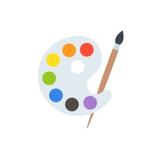Paint Palette And Paint Brush,...